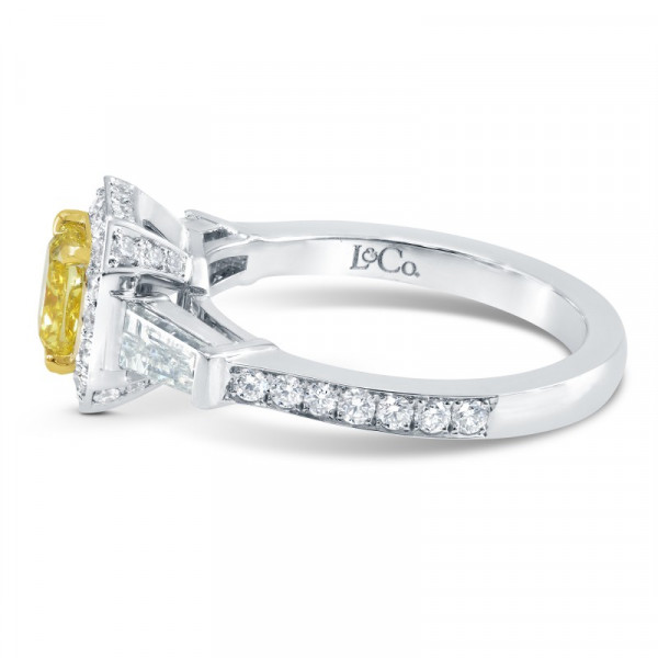 Fancy Vivid Yellow Diamond Halo and Side Stone  Ring (1.72Ct TW)