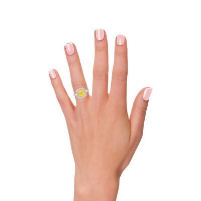 Fancy Intense Yellow Cushion Diamond Halo Ring (2.33Ct TW)