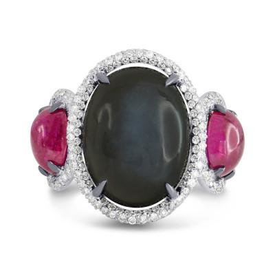 Black Moonstone, Ruby and Diamond Ring (12.59Ct TW)