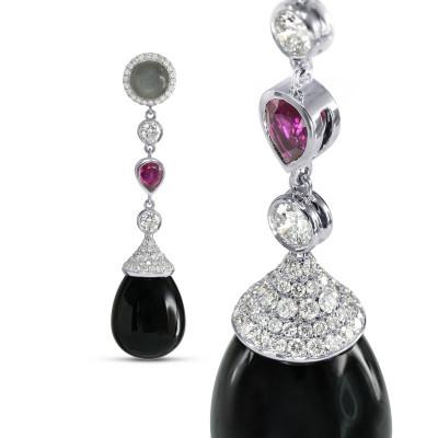 Onyx Ruby Moonstone Diamond Drop Earrings (46.83Ct TW)