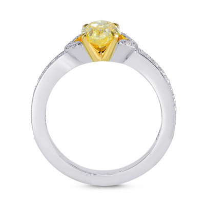 Fancy Intense Yellow Oval & Pave Diamond Ring (1.28Ct TW)