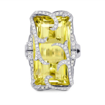 Extraordinaire  Belle Citron - Lemon Quartz Diamond Ring (26.42Ct TW)