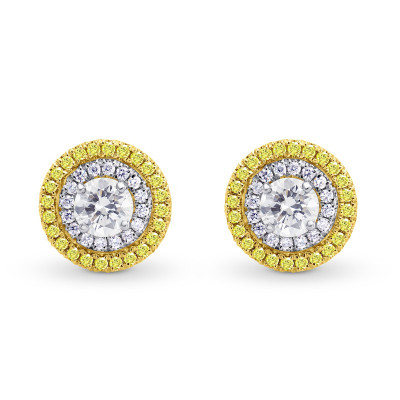 White and Fancy Intense Yellow Diamond Double Halo Earrings (1.12Ct TW)