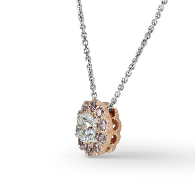 White and Pink Diamond Floral Halo Pendant (0.75Ct TW)