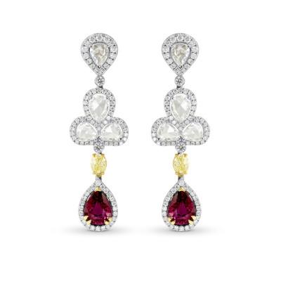 Extraordinary Ruby & Fancy Yellow Diamond Drop Earrings (6.89Ct TW)