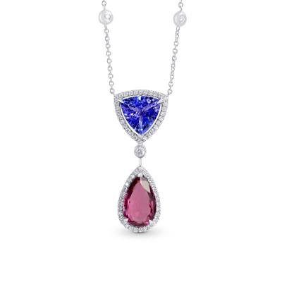 Tanzanite & Pink Tourmaline Diamond Pendant (5.03Ct TW)