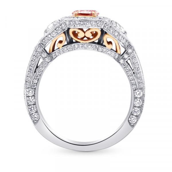 Fancy Intense Orangy Pink Pear Diamond Dress Ring (1.56Ct TW)