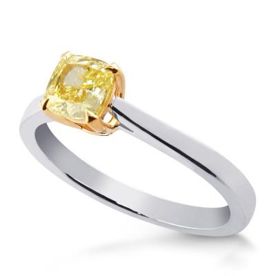 Fancy Intense Yellow Cushion Diamond Solitaire Ring (0.61Ct)
