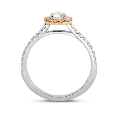 White and Fancy Pink Diamond Halo Ring (0.61Ct TW)