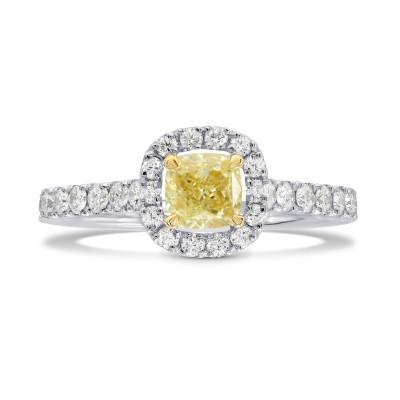 Fancy Yellow Cushion Diamond Halo Ring (0.98Ct TW)