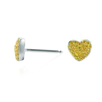 Fancy Intense Yellow Diamond Pave Heart Earrings (0.14Ct TW)