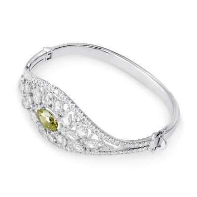 Extraordinary Grayish Greenish Yellow Oval & Rose-cut Diamond Bangle (12.53Ct TW)