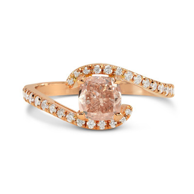 Fancy Brownish Orange Pink Cushion Diamond Cross-Over Ring (0.90Ct TW)