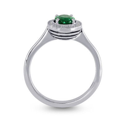 Oval Green Emerald & Diamond Engagement Ring (0.64Ct TW)