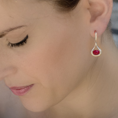 Ruby and Diamond Cabochon Drop Earrings (4.56Ct TW)