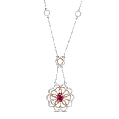 Ruby and Pink Diamond Flower Necklace (3.27Ct TW)