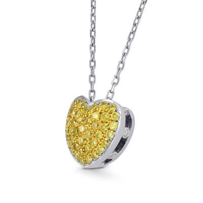 Fancy Vivid Yellow Diamond Pave Heart Pendant (0.43Ct TW)