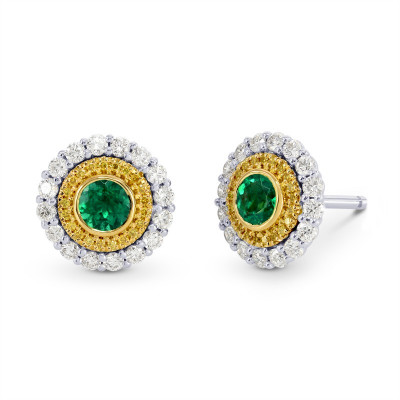 Vivid Green Emerald and Fancy Intense Yellow Diamond Earrings (1.21Ct TW)