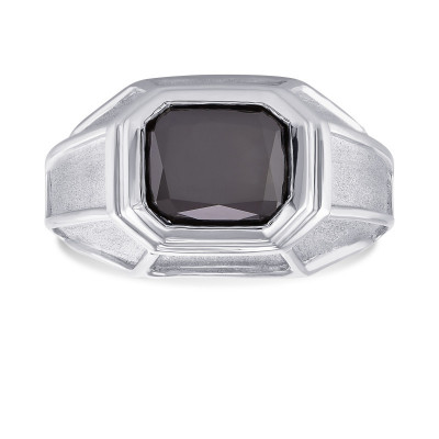 Platinum Fancy Black (Natural unheated) Radiant Diamond Men's Ring (3.42Ct)