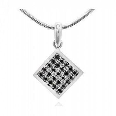 Black Diamond Pave Square Shape Pendant (0.20Ct TW)