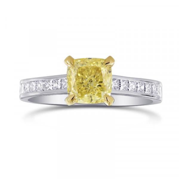 Fancy Yellow Cushion & Princess Side Stone Diamond Ring (1.66Ct TW)