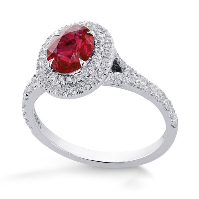 Oval Ruby and Diamond Double Halo Ring (1.49Ct TW)