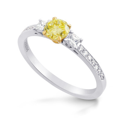 Fancy Yellow Round & White Princess Diamond Ring (0.80Ct TW)