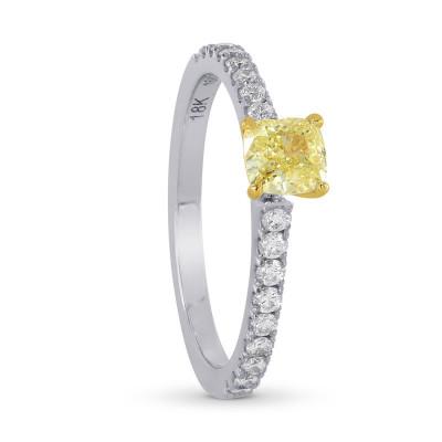 Fancy Yellow Cushion & Pave Diamond Ring (0.98Ct TW)