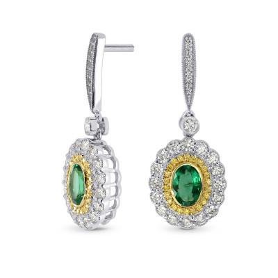 Vivid Green Emerald and Fancy Intense Yellow Diamond Drop Earrings (1.87Ct TW)