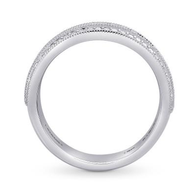 Wide Black Diamond Milgrain Wedding Band Ring (0.53Ct TW)