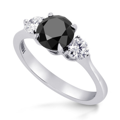 Black & White Diamond Round Brillant 3 Stones Ring (1.79Ct TW)