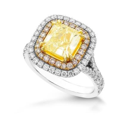 Fancy Yellow Radiant Diamond Double Halo Ring (3.10Ct TW)