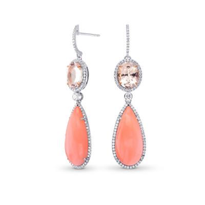Pink Kunzite, Coral & Diamond Drop Earrings (23.06Ct TW)