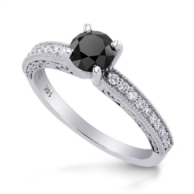 Black Diamond Solitaire Milgrain Side Stone Ring (0.86Ct TW)