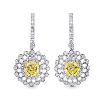 Fancy Yellow Round Brillant Halo Earrings (1.75Ct TW)