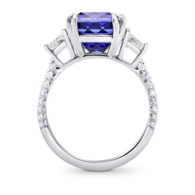 Tanzanite Cushion & Trapezoid Diamond Ring (7.80Ct TW)