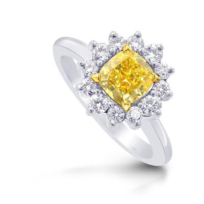 Fancy Intense Yellow Cushion Diamond Prong Halo Ring (1.40Ct TW)