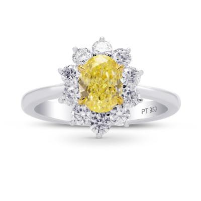 Fancy Yellow Oval Diamond Halo Ring (1.74Ct TW)