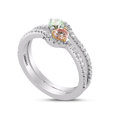 Argyle Pink & Green Diamond Two Stone Crossover Ring (0.82Ct TW)