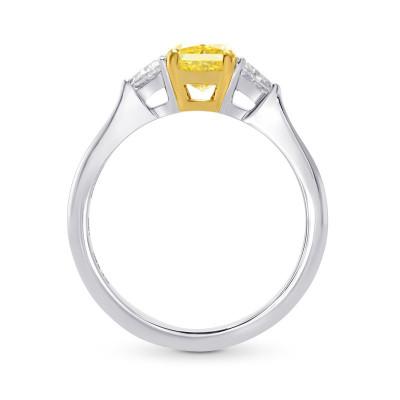 Platinum Fancy Yellow Radiant & Triangle Diamond Ring (1.27Ct TW)