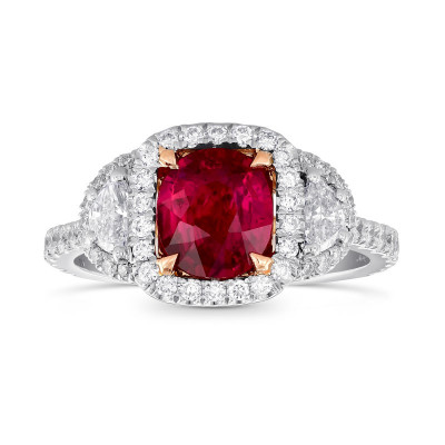 Red Mozambique Oval Ruby & Half-Moon Diamond Ring (2.26Ct TW)
