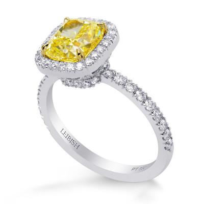 Fancy Yellow Cushion Diamond Halo Ring (2.71Ct TW)