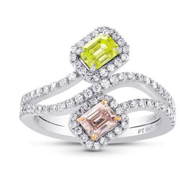 Argyle Pink & Greenish Yellow Diamond Cross-over Halo Ring (1.18Ct TW)