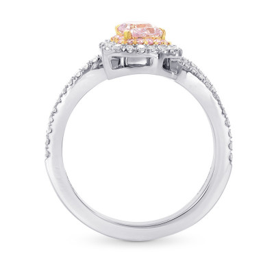 Argyle Pink Pear Diamond Halo Crossover Ring (1.04Ct TW)