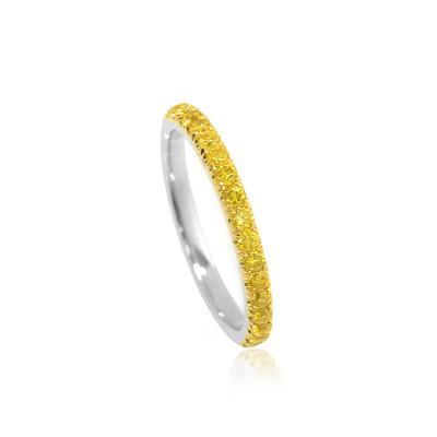 Canary Fancy Vivid Yellow Diamond Half Eternity Wedding Band (0.35Ct TW)