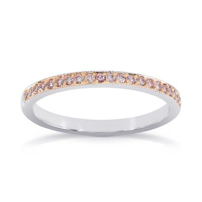 White & Rose Gold Fancy Light Pink Diamond Milgrain Band Ring (0.16Ct TW)