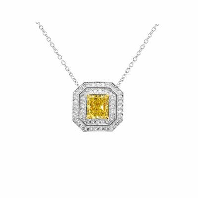 Fancy Intense Yellow Cushion Diamond Cut-corner Pendant (0.70Ct TW)