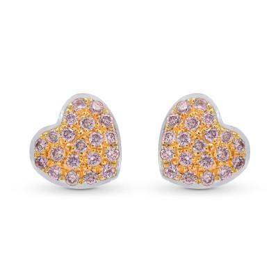 Fancy Pink Diamond Pave Heart Earrings (0.15Ct TW)