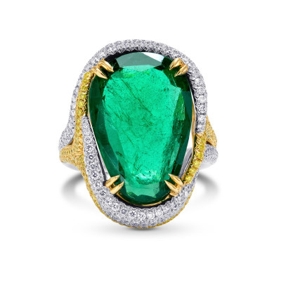 Emerald Antique Cut Pear & Yellow Diamond Designer Ring (9.72Ct TW)