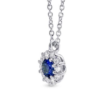 Round Sapphire & Diamond Halo Pendant (0.35Ct TW)
